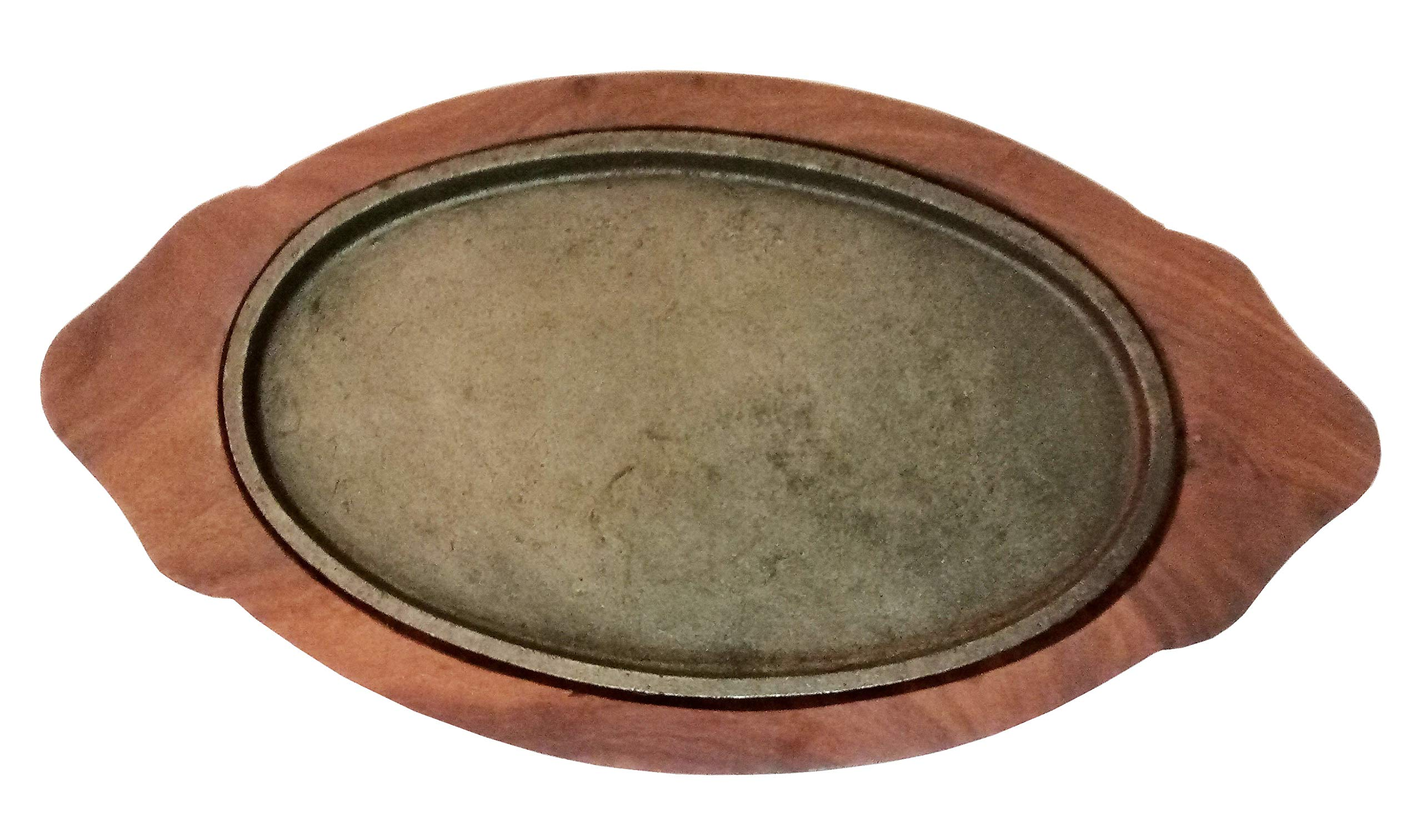 Sahishnu Online And Marketing Fajita Pan with Wooden Tray, Sizzling Brownie Sizzler Plate/Tray with Wooden Base Oval