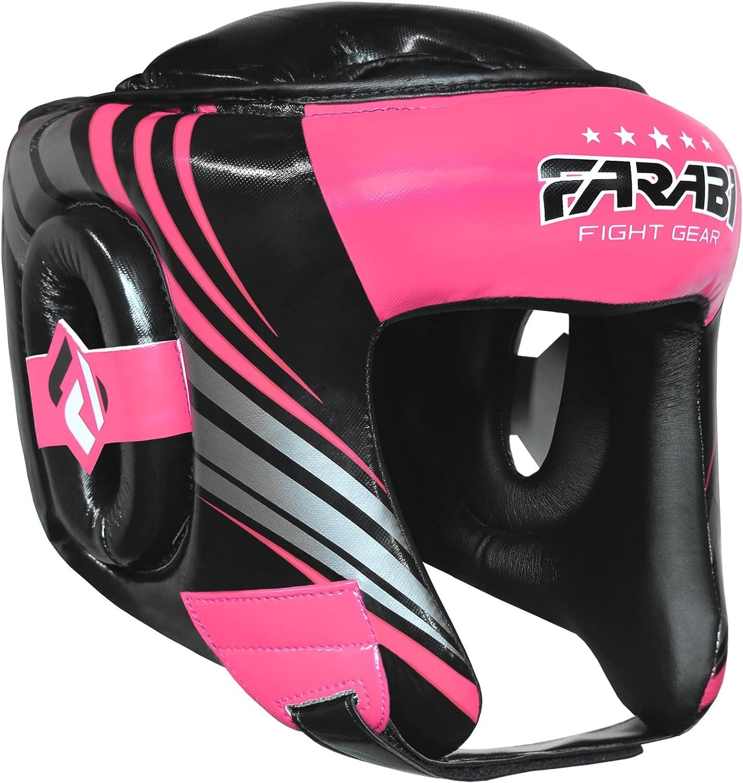 cara completa casco protector cabeza pantalla Headgear /Protector de cabeza de boxeo MMA Muay Thai Entrenamiento Pr/áctica hombre Pink Black Farabi Fight Gear/