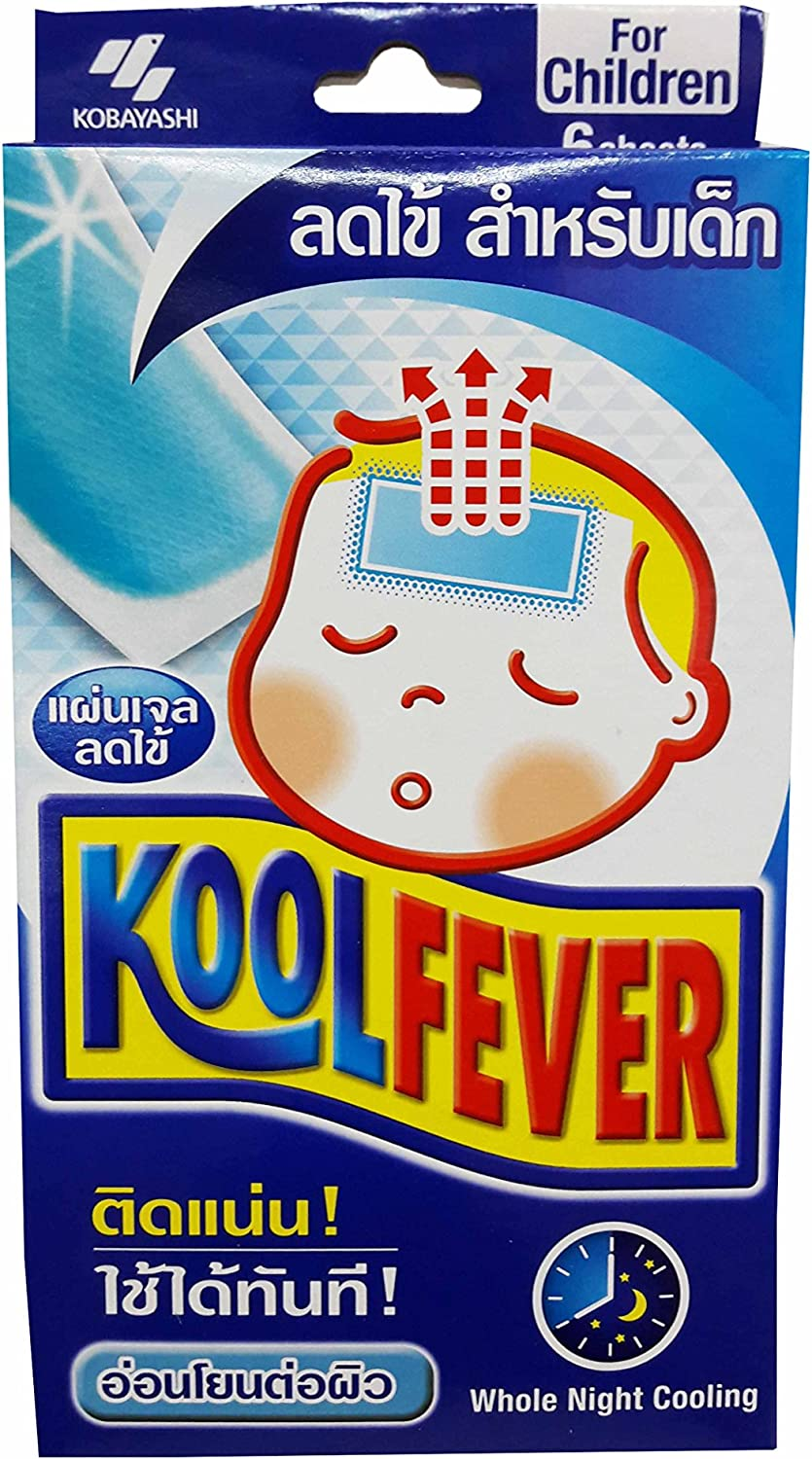 2 Boxes of Koolfever, Reduce Fever Cooling Gel Pads for Children, Whole Night Cooling. (1 Box X 6 Sheets) (Size of 50 Mm X 110 Mm)