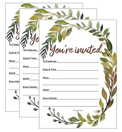 amazon com invitation you re invited watercolor greenery fill