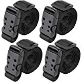 Utility Straps with Buckle Quick-Release Adjustable Nylon Straps Black 4 Pack (Black, 0.75'x40')