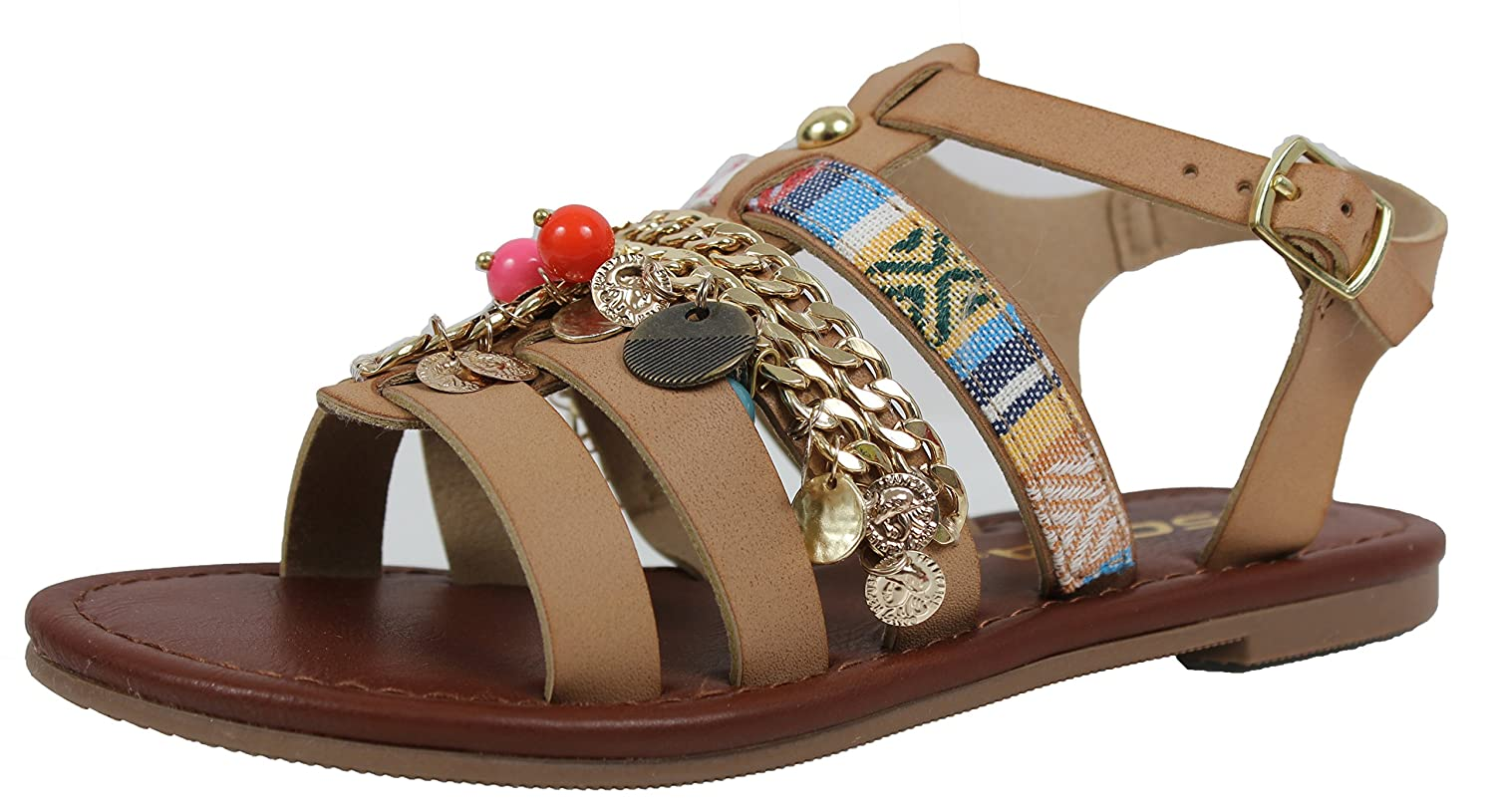 SODA Girls Open Toe Ornaments Strappy Braided Ankle Strap Flat Sandal
