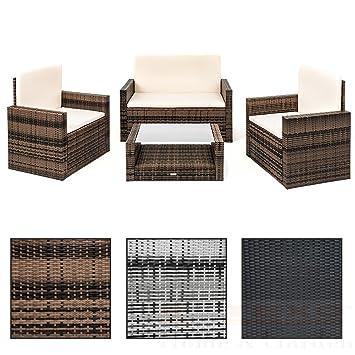Rattan lounge set braun  Amazon.de: Polyrattan Sitzgruppe Rattan Lounge Set 4 Personen in ...