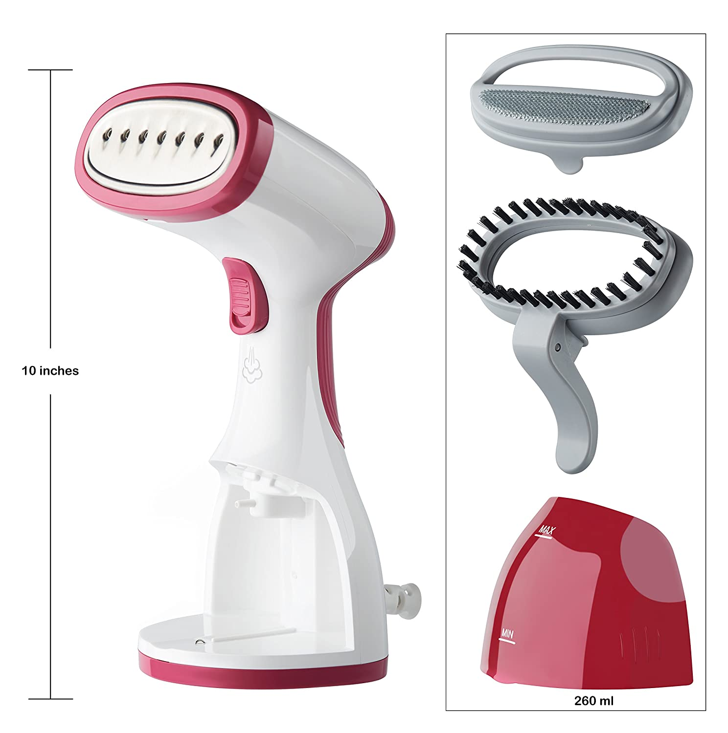 260ml Travel Size HandHeld Garments Steamers with High Capacity for Better Ironing at Home and Traveling Best Fabric Steam Portable Garment Clothes Steamer for Removing Stubborn Wrinkles
