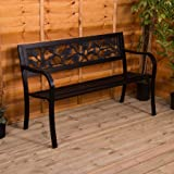 Home Discount Steel Garden Bench, Rose Design 3 Seater Outdoor Furniture  Seating Park Patio Seat