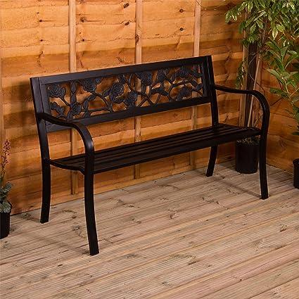 Fantastic Home Steel Garden Bench Rose Design 3 Seater Outdoor Furniture Seating Park Patio Seat Ibusinesslaw Wood Chair Design Ideas Ibusinesslaworg
