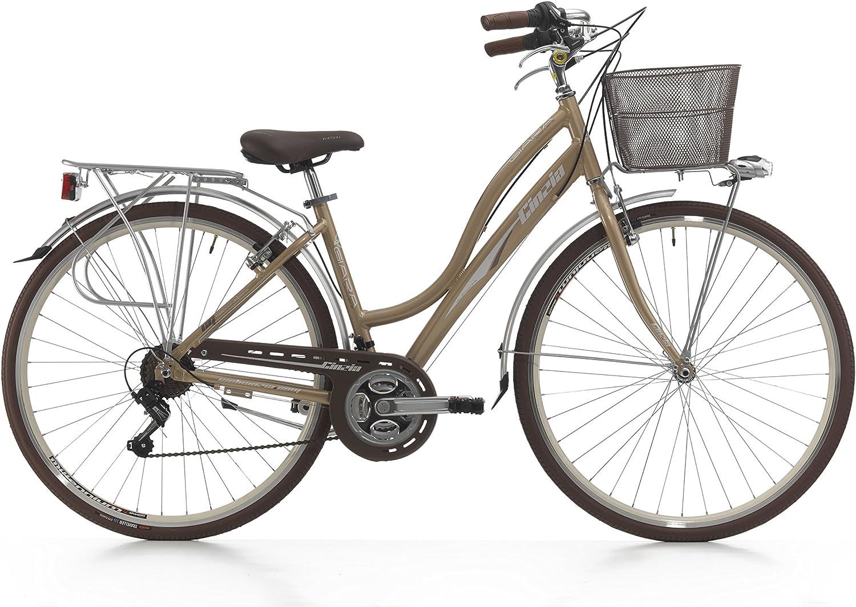 CINZIA City Bicicleta 28 Pulgadas giara Oro: Amazon.es: Deportes y ...