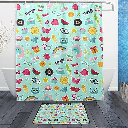 Amazon Com Baihuishop Unicorn Rainbow Lips Emoji 3 Piece Bathroom