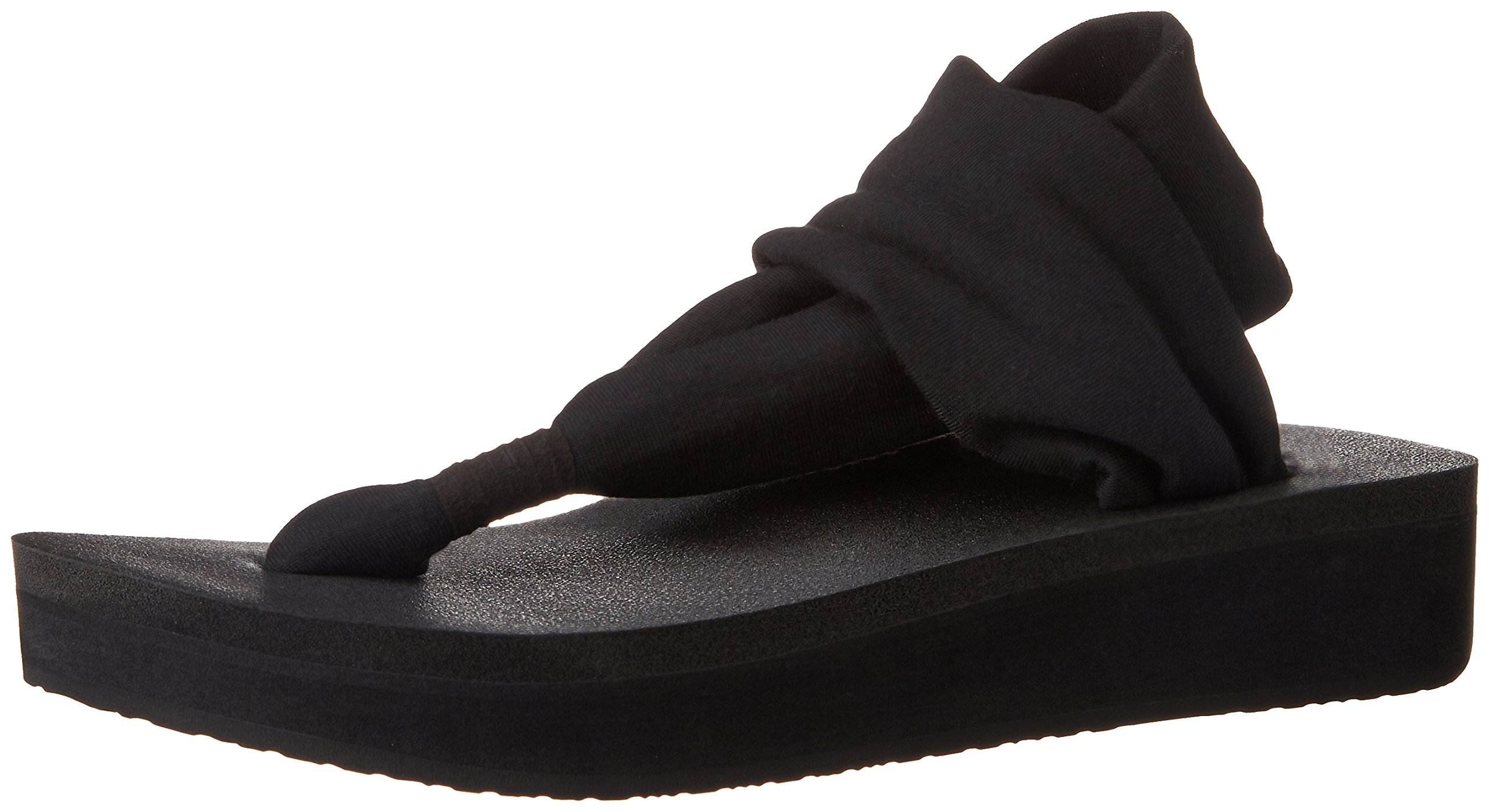 Sanuk Women's Yoga Sling Wedge Flip Flop, Black, 7 M US