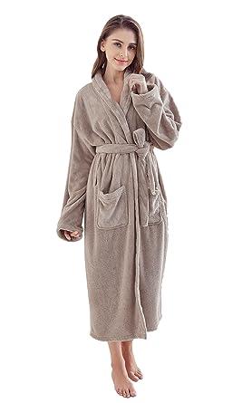 0f04873b0b Monarca Women s Plush Fleece Bathrobe Long Soft Hotel   Spa Kimono Robe  (Khaki