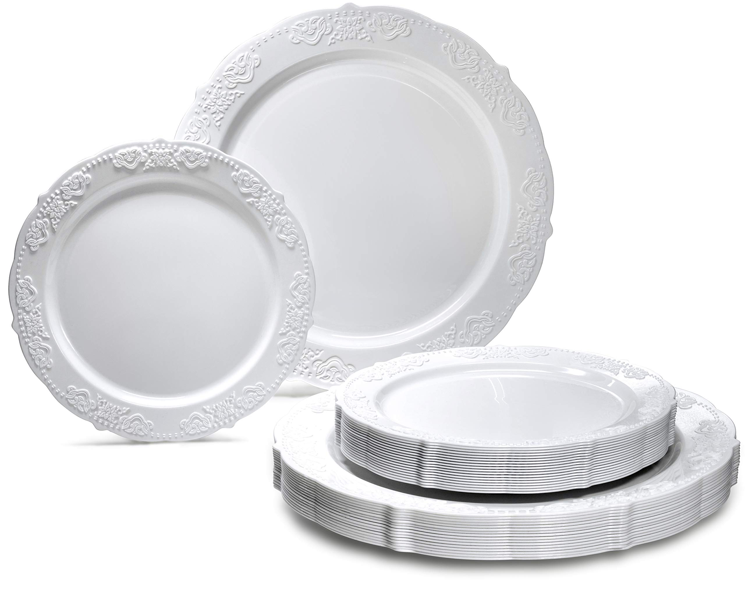 OCCASIONS 240 PACK Wedding Party Disposable Plastic Plates Set - 120 x 10.25'' Dinner + 120 x 7.5'' Salad/Dessert Plate (Portofino Plain White)