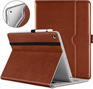 DTTO iPad 9.7 Inch 5th/6th Generation 2018/2017 Case with Apple Pencil Holder, Premium Leather Folio Cover Case for Apple iPad 9.7 inch [Auto Sleep/Wake]- Brown(Grey Lining)