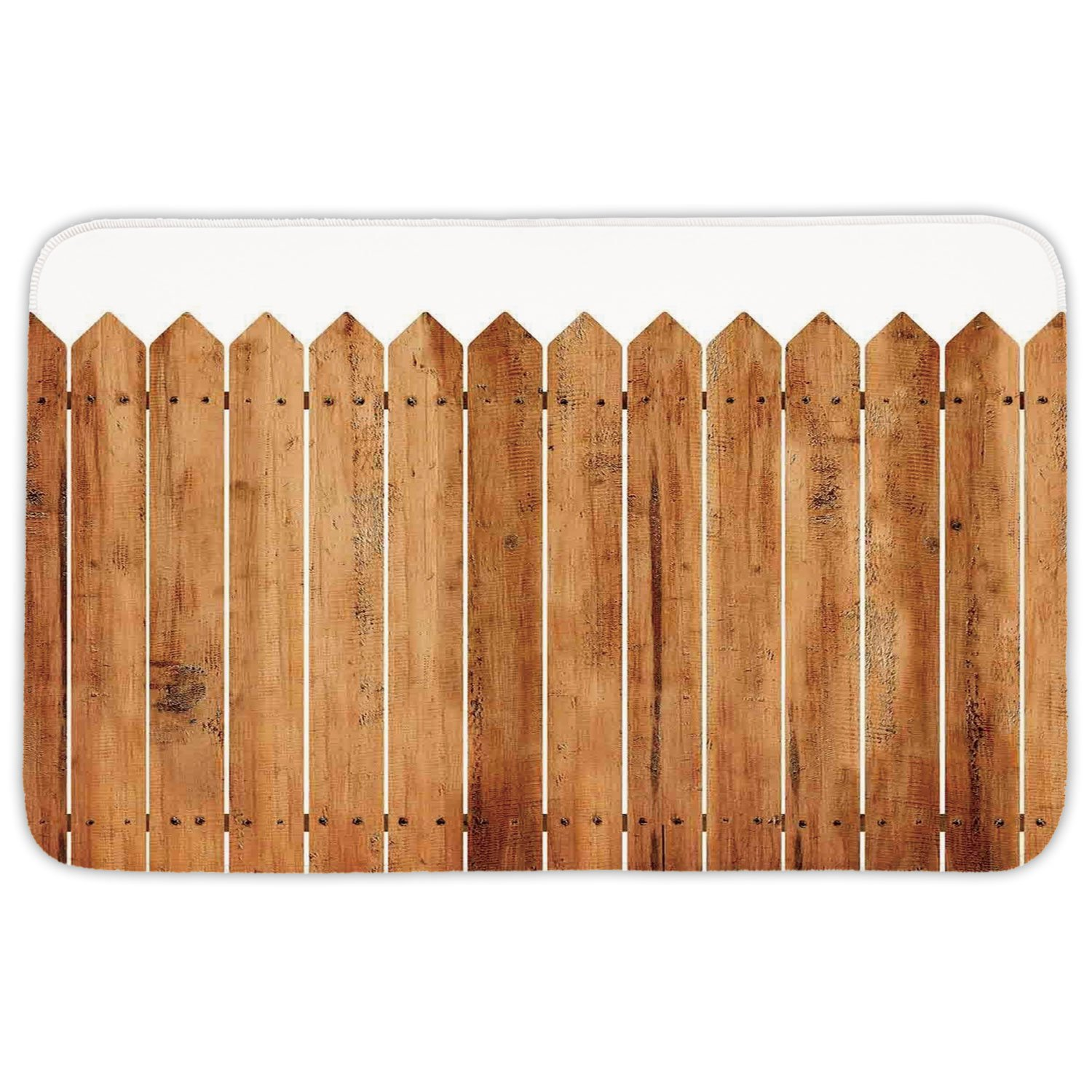 Rectangular Area Rug Mat Rug,Farm House Decor,Triangle Edged Timber Border Stripes Siding Woodwork Enclosing Tool Image,White Brown,Home Decor Mat with Non Slip Backing