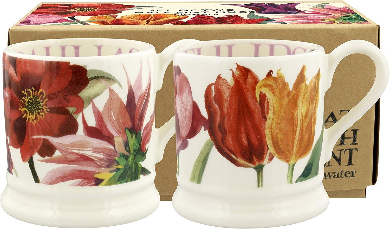 Gift Boxed 1FLW110013 Emma Bridgewater Flowers Half Pint Mug Earthenware Set of 2
