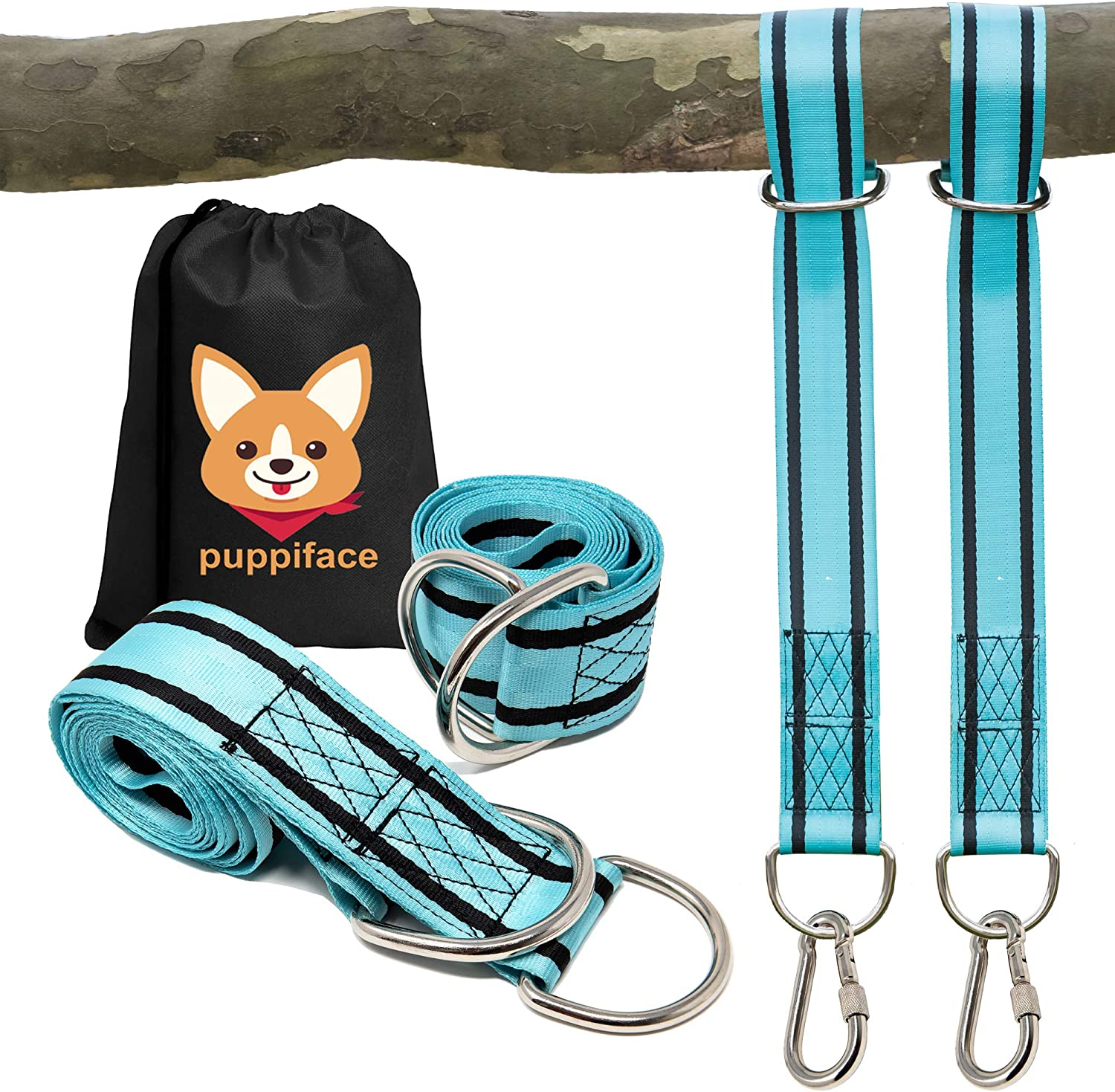 puppiface Tree Swing Hanging Straps Kit - Extra Strong 6 ft. Adjustable Straps Hold 4400 lbs - Heavy Duty Safety Lock Stainless Steel Carabiners with Storage Bag - Great for Hammock & All Swing Types