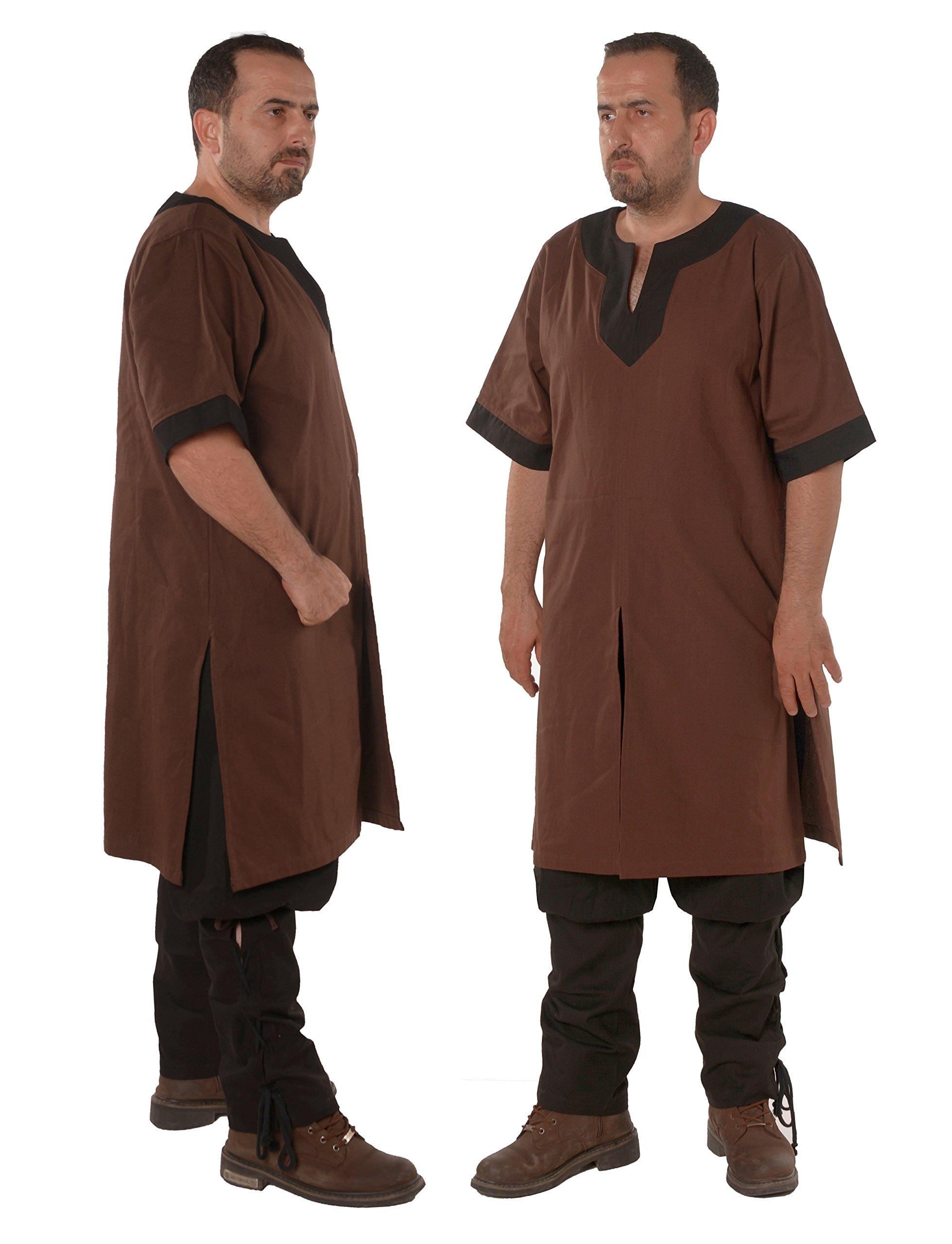 byCalvina - Calvina Costumes Loki Medieval Viking LARP Renaissance Linen-Look Cotton Mens Tunic-Made in Turkey -BRW/BLC XXXL