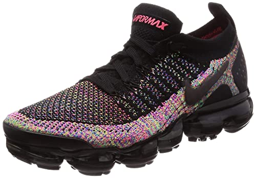 check out efe79 bef55 Nike Women's Air Vapormax Flyknit 2 Black/Black/Racer Pink/Racer Blue/Volt  Nylon Running Shoes 8 M US
