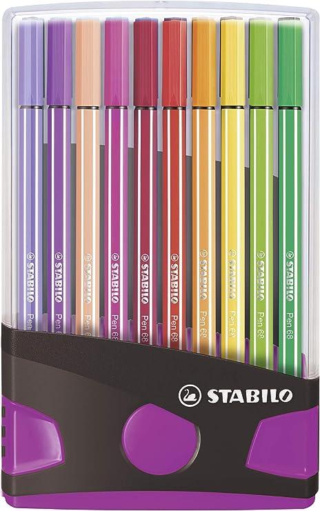 Rotulador STABILO Pen 68 - Estuche premium Colorparade gris y rosa - Con 20 colores: Amazon.es: Oficina y papelería