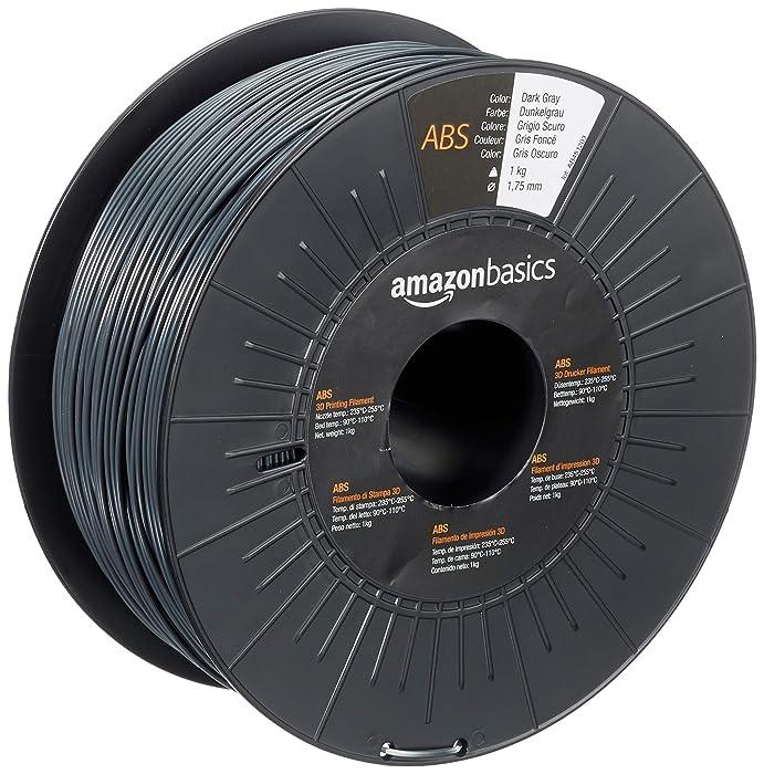 AmazonBasics ABS 3D Printer Filament, 1.75mm, Dark Gray, 1 kg Spool