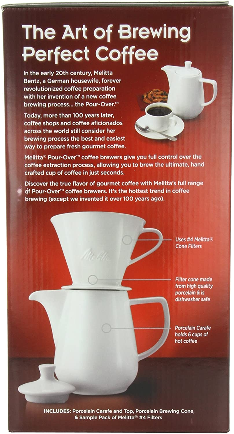 Melitta 6-Cup Pour Over Coffee Brewer w Porcelain Carafe, White