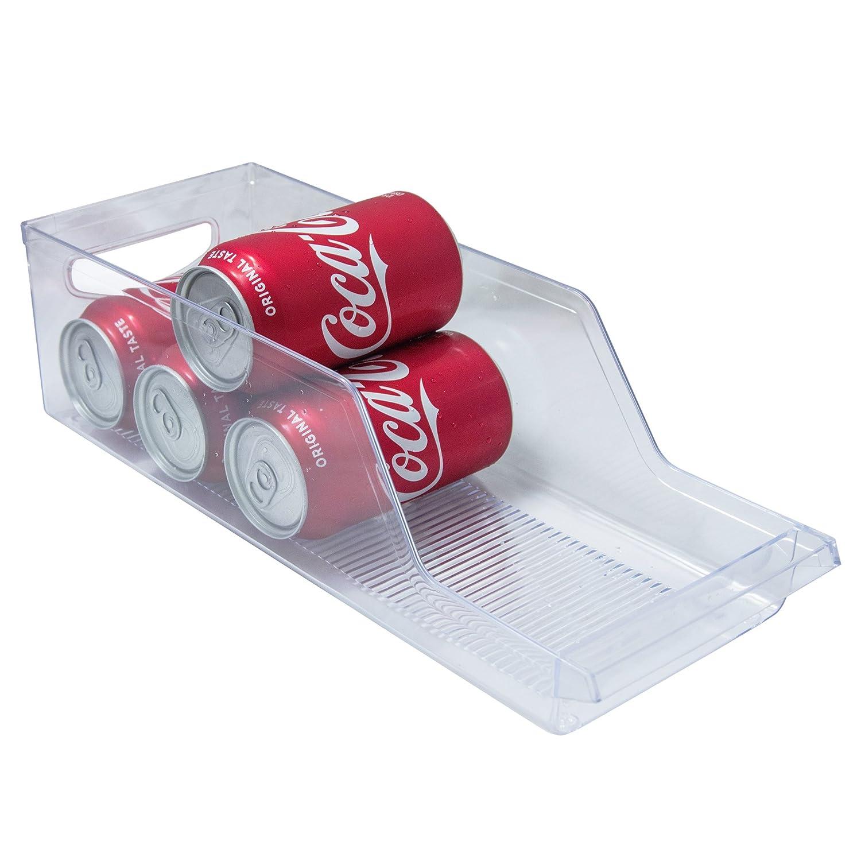 Refrigerator Soda Can Dispenser, Soda Can Holder Organizer Beverage Refrigerator and Freezer Storage Storage Container Bin, Clear