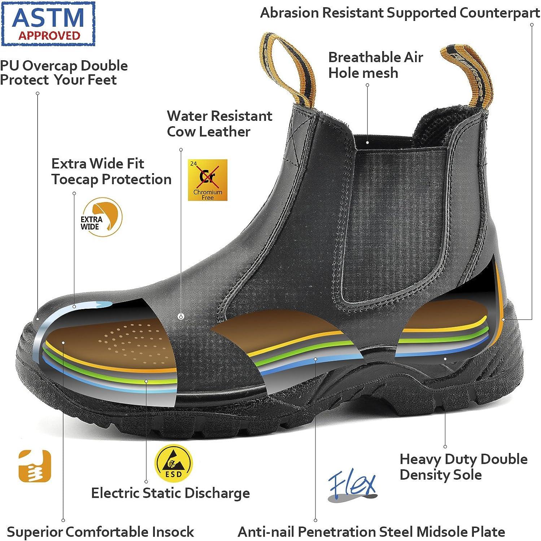 SAFETOE Chaussure de Securit/é Homme Chantier M8025 S3 Travail Bottes de Protection Montante Homme Legere Anti Glisse Basket Chaussure de S/écurit/é Montantes Homme Cuir