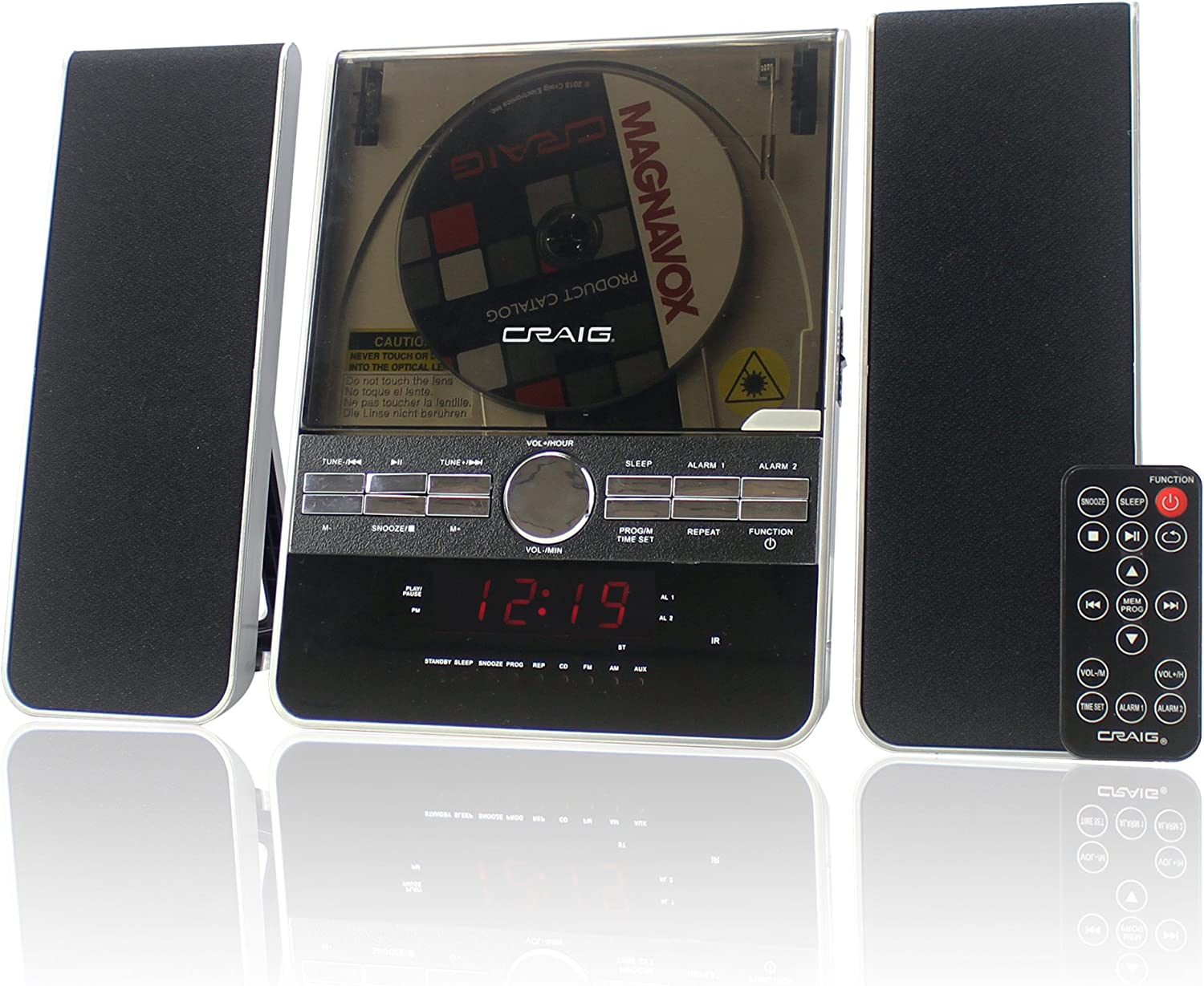 Craig Vertical CD Shelf System with AM/FM Stereo Radio and Dual Alarm Clock, 3-Piece Black (CM427)