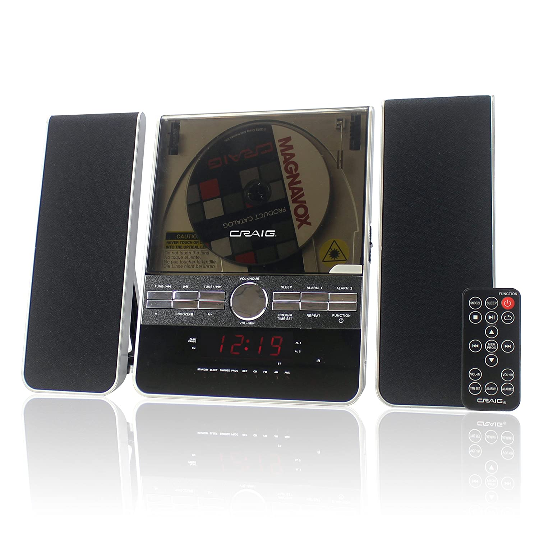Craig Vertical CD Shelf System with AM/FM Stereo Radio and Dual Alarm Clock, 3-Piece Black (CM427) by Craig Electronics   B007S71O2G
