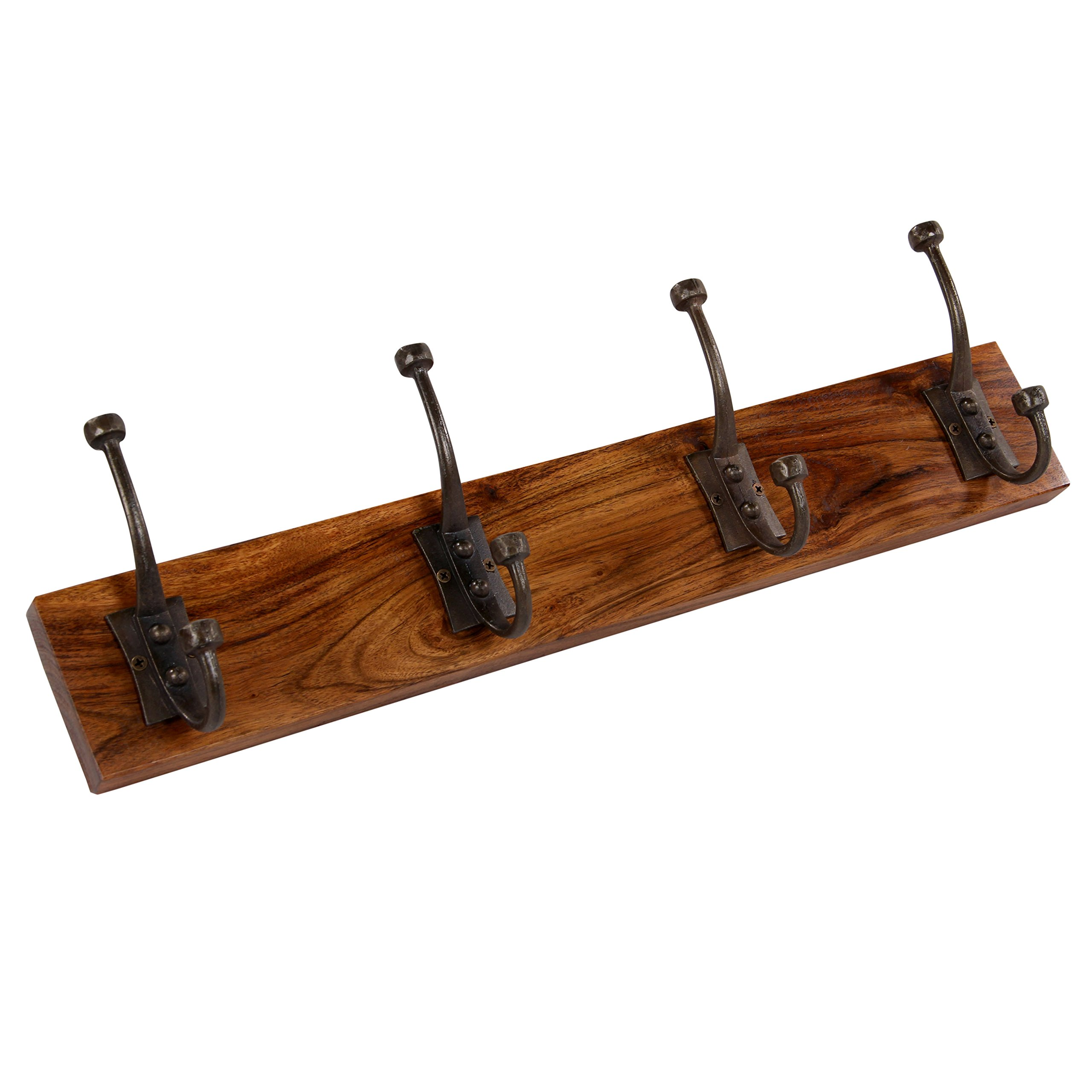 Luxe Collection 689354146468 Acacia Wood Utility Wall Mounted Hooks on Board- Antique-4 hooks by Luxe Collection (Image #1)