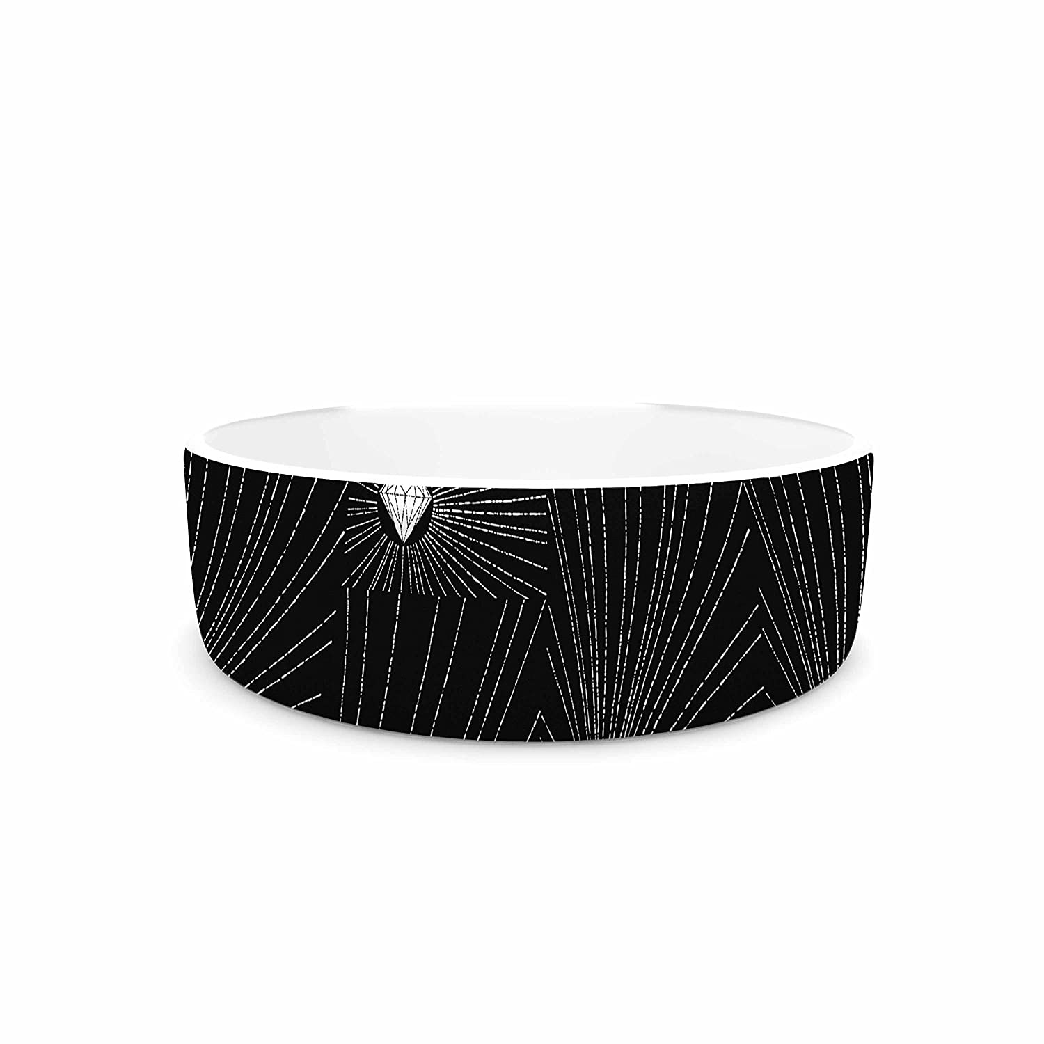 4.75\ KESS InHouse BarmalisiRTB Diamond  Black White Pet Bowl, 4.75