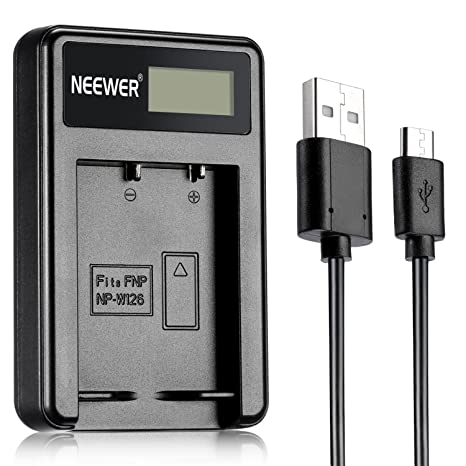 Neewer® NW-W126 Cargador de batería USB para Fujifilm NP-W126 y Fuji FinePix HS30EXR, HS33EXR, HS50EXR, X-A1, X-E1, X-E2, X-M1, X-Pro1, X-T1, X-Pro2