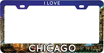 I LOVE CHICAGO CITY Metal License Plate Frame Tag Holder Two Holes