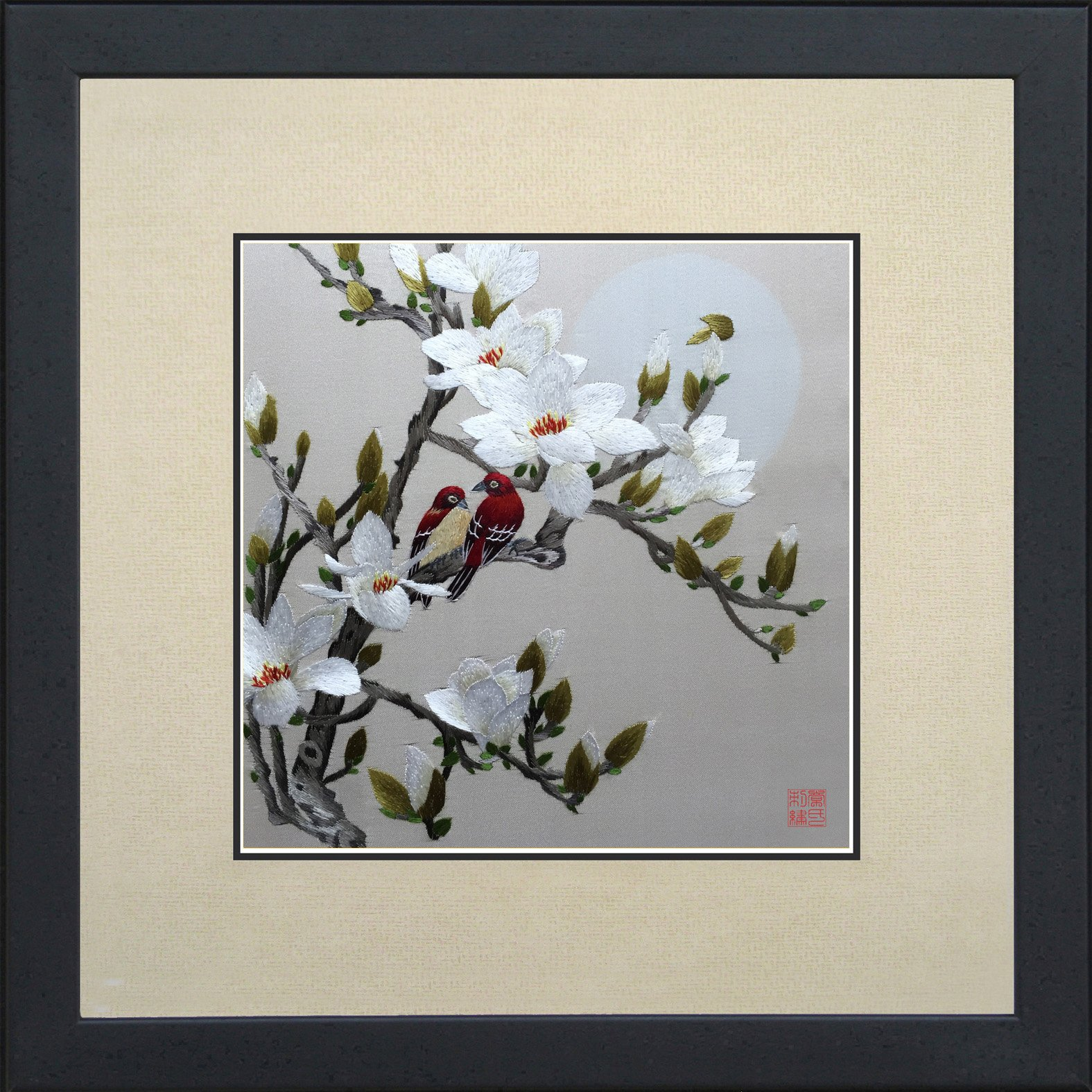 King Silk Art 100% Handmade Embroidery Mixed Group Love Birds on Cherry Blossom Trees Chinese Print Wildlife Bird Painting Anniversary Wedding Birthday Party Gifts Oriental Asian Wall Art 31041WFG