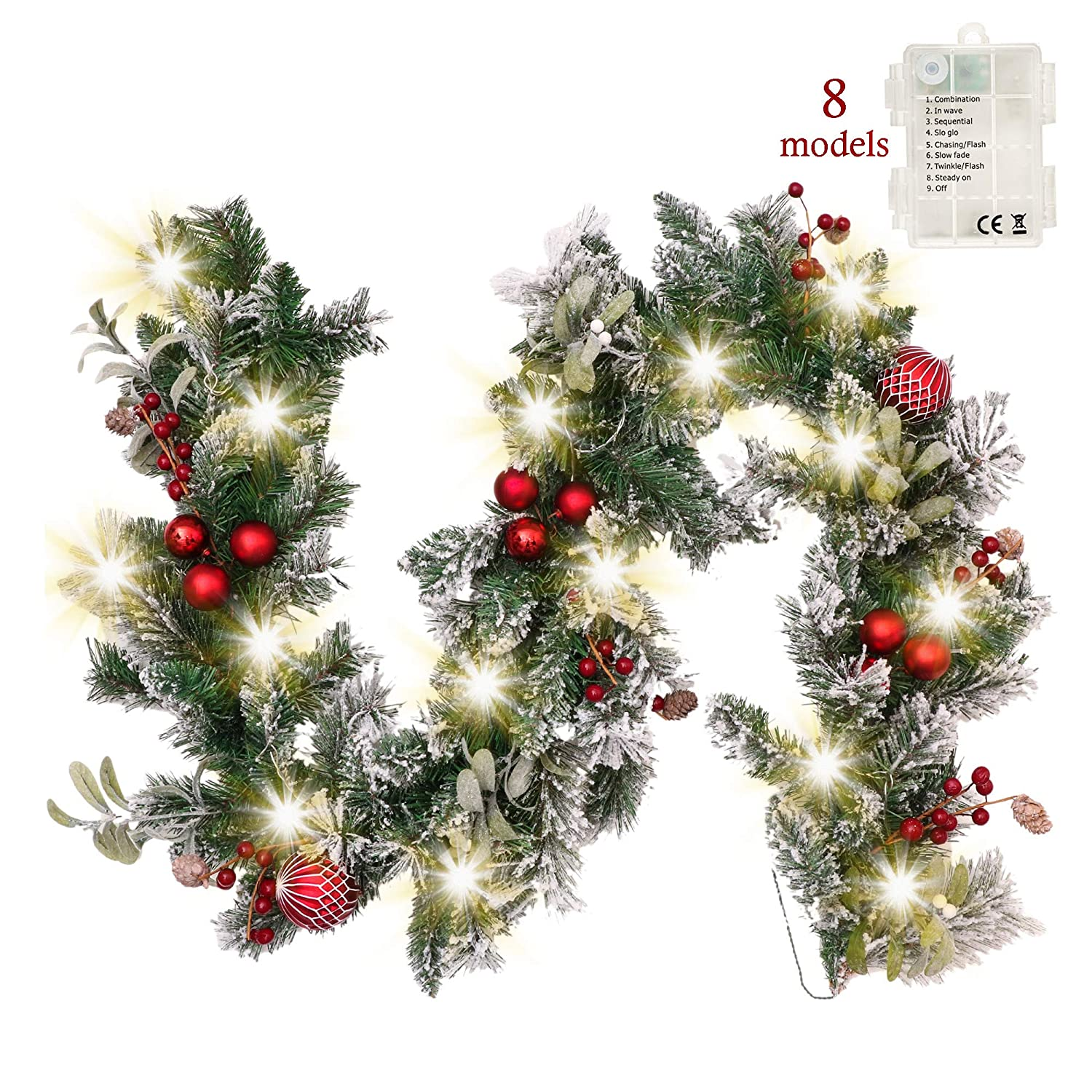 Berry Battery Operated Artificial Flower Valery Madelyn Pre-Lit Luxury Red and Gold Christmas Garland with Remote Timer 8 Modes 20 LED Lights Decorated with Glittery Baubles 1.8m// 6 feet Ribbon
