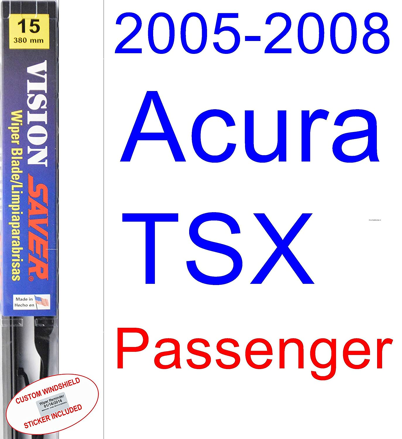 Amazon.com: 2005-2008 Acura TSX Wiper Blade (Driver) (Saver Automotive Products-Vision Saver) (2006,2007): Automotive