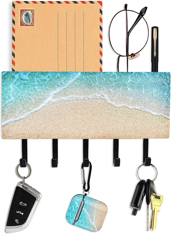 Hennaja Key Holder for Wall with 5 Key Hooks,Personalized Key Holder Mail Organizer Wall Mount for Entryway Kitchen Bathroom Door Home Decor(1 Pack,1-Sandbeach)