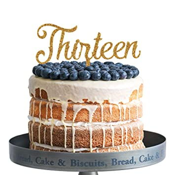 Amazon Thirteen Happy Birthday Cake Topper Gold Glitter Acrylic