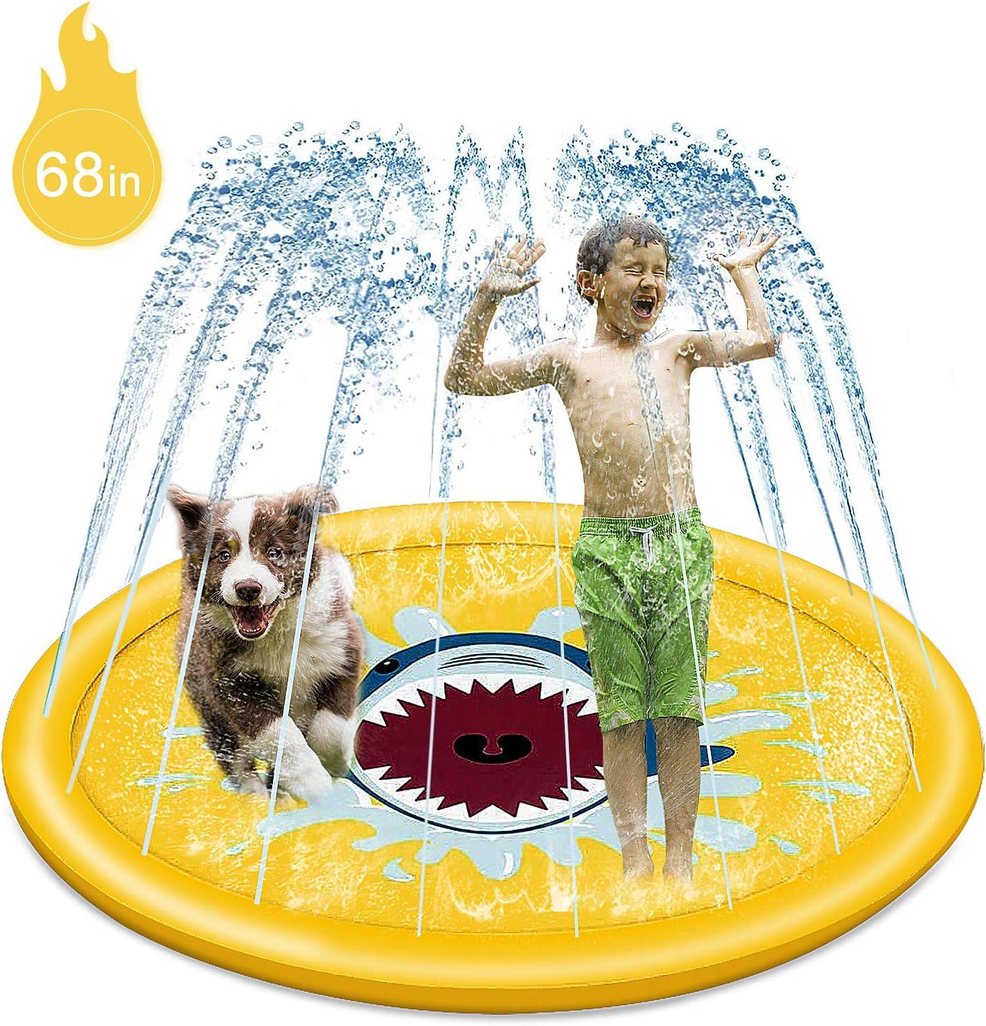 68 inch Inflatable Splash Sprinkler Pad,Summer Outdoor Sprinkler Pad Toy,for Kids Toddler Pool Dog Wading Pool Splash Play Mat Yellow Shark