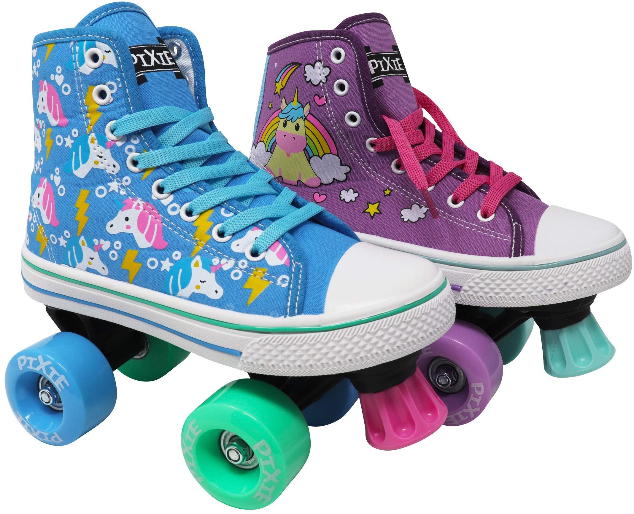 Lenexa Roller Skates for Girls - Pixie Unicorn Kids Quad Roller Skate - Indoor, Outdoor, Derby Children's Skate - Rollerskates Made for Kids - High Top Sneaker Style - for Beginner (Sky Blue, J12) by Lenexa