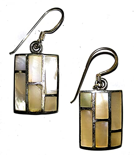 Buy PURE SILVER DANGLE EARRINGS STUDDED WITH MOTHER OF PEARL