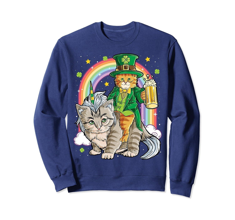 Cat Unicorn Leprechaun SweatShirt St Patricks Day Caticorn-Colonhue