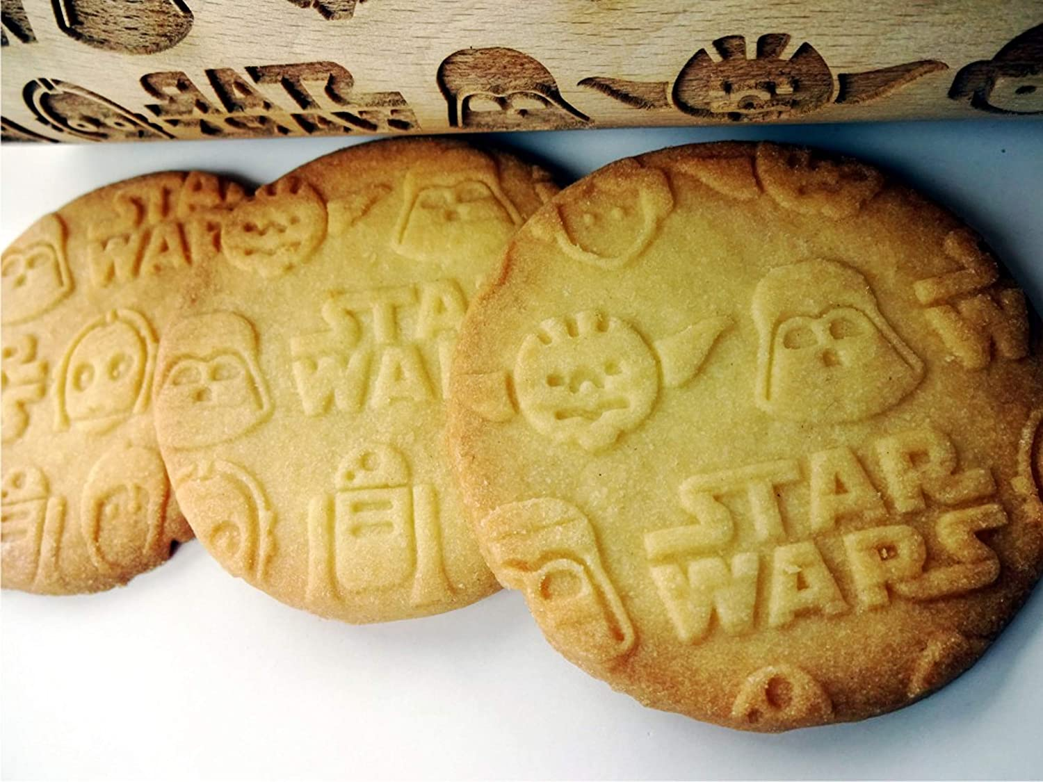 Biscuit Fondant Roller Star Wars Dough Engraved Roller Embossing Rolling pins German beech-Wood Kitchen Tool Star Wars Rolling Pin