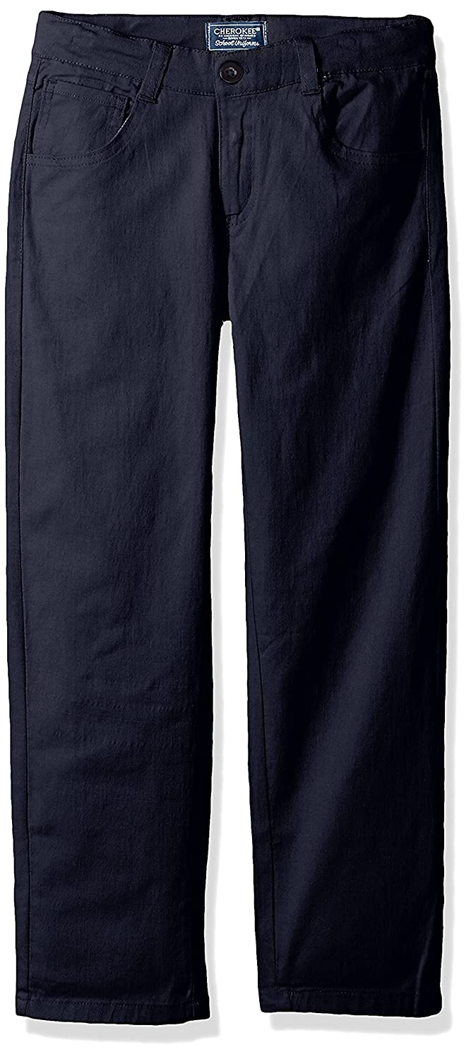 Cherokee Toddler Boys' Uniform Classic Fit Twill Pant with Adjustable Waist, Navy, 2T CHEROKEE girls