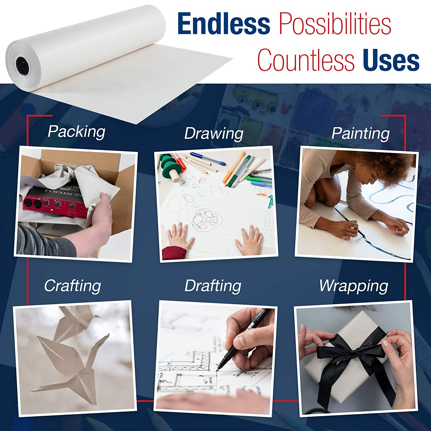Storing BOX USA Newsprint Packing Paper Roll White and Packing 1440 Length x 30 Width 100/% Recycled Great for Moving