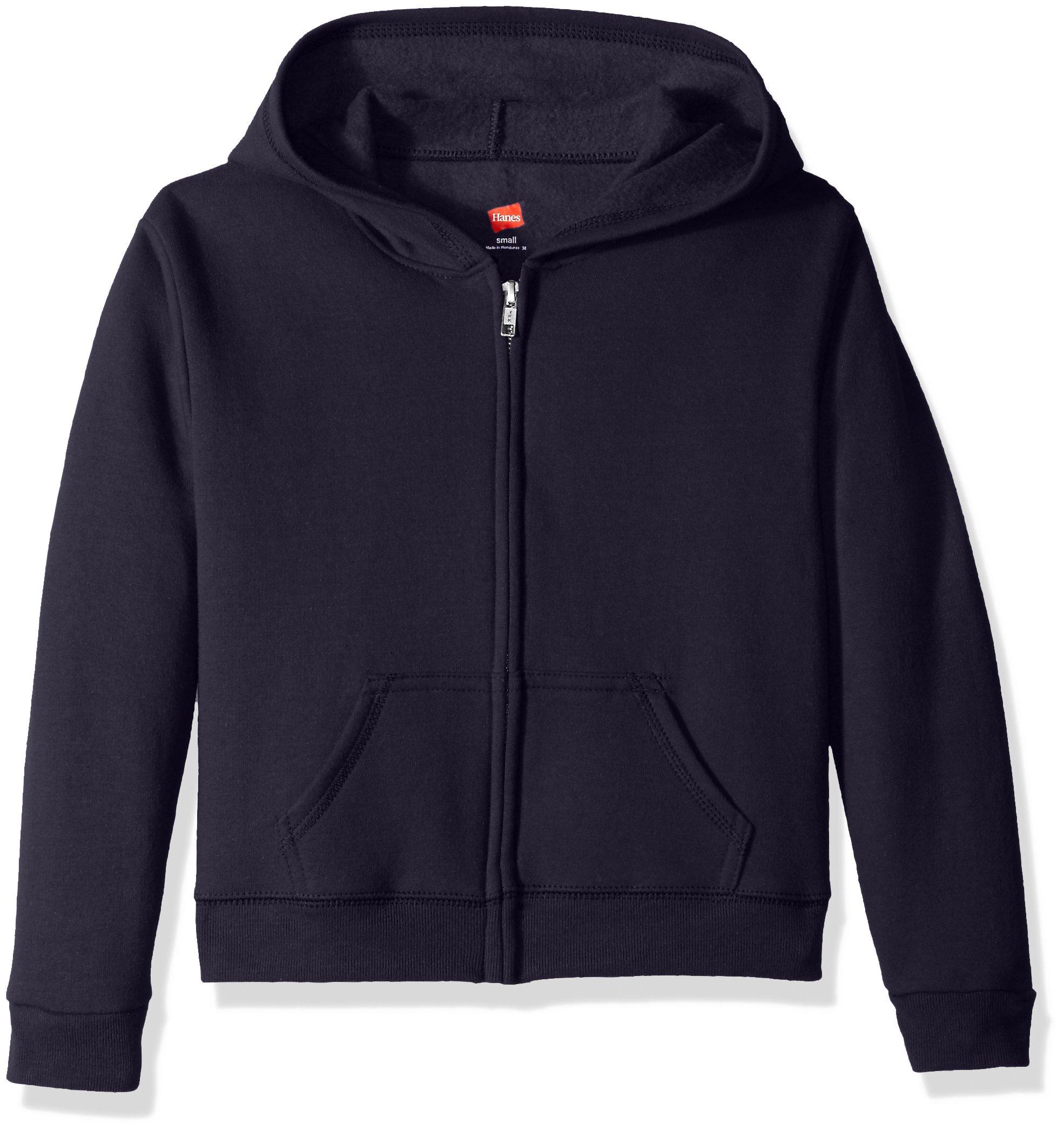 Hanes Big Girls' ComfortSoft EcoSmart Full-Zip Fleece Hoodie, Navy, M