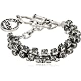 """Giles and Brother Silver-Tone Brass and Black Diamond Crystal Chain Bracelet, 8"""""""