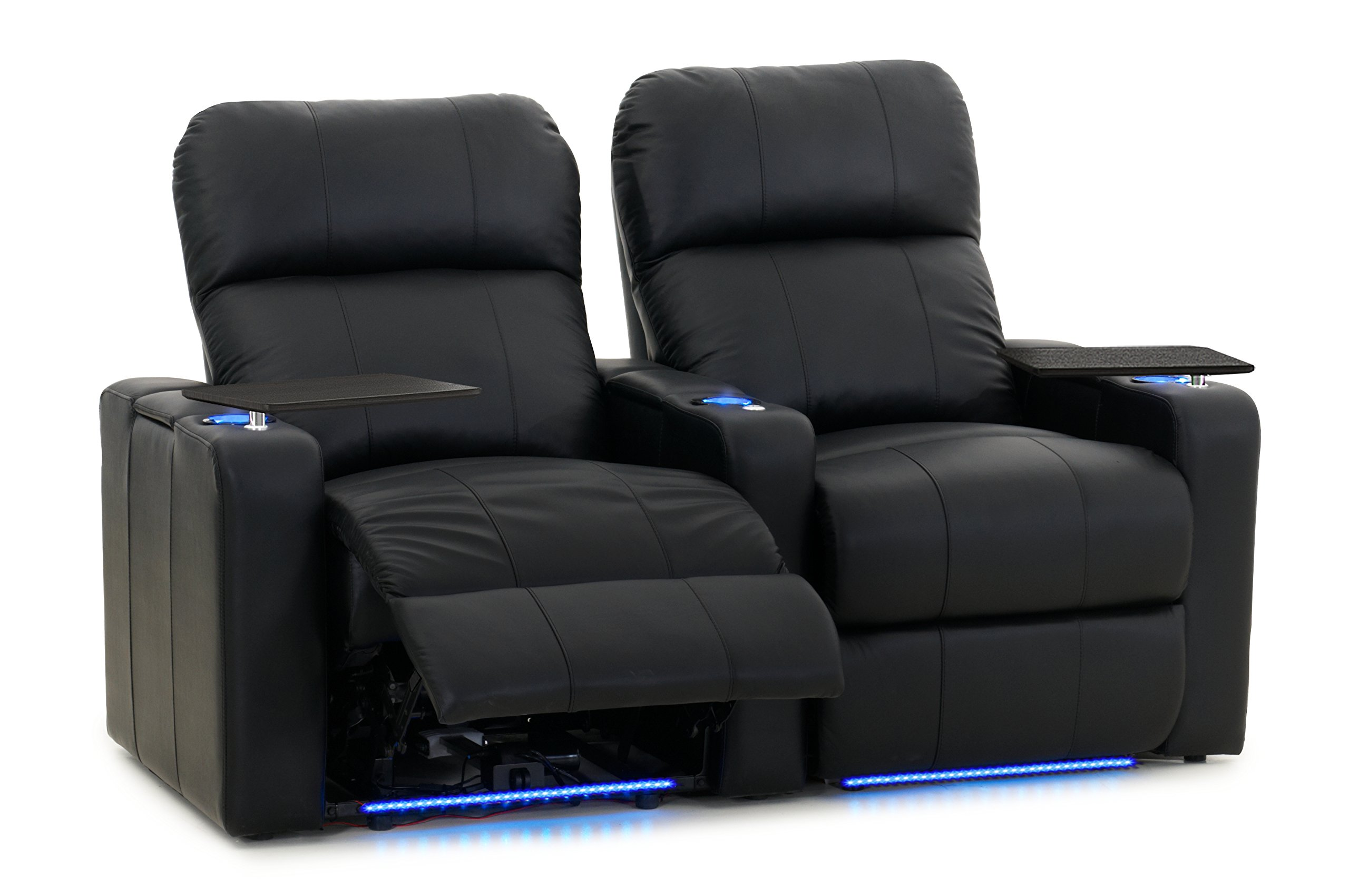 Octane Turbo XL700 Row of 2 Seats, Straight Row in Black Bonded Leather with Power Recline