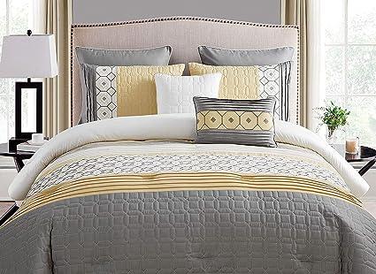 Amazon.com: K-U-P 7 Pc Yellow, Beautiful Comforter Set King Size ...