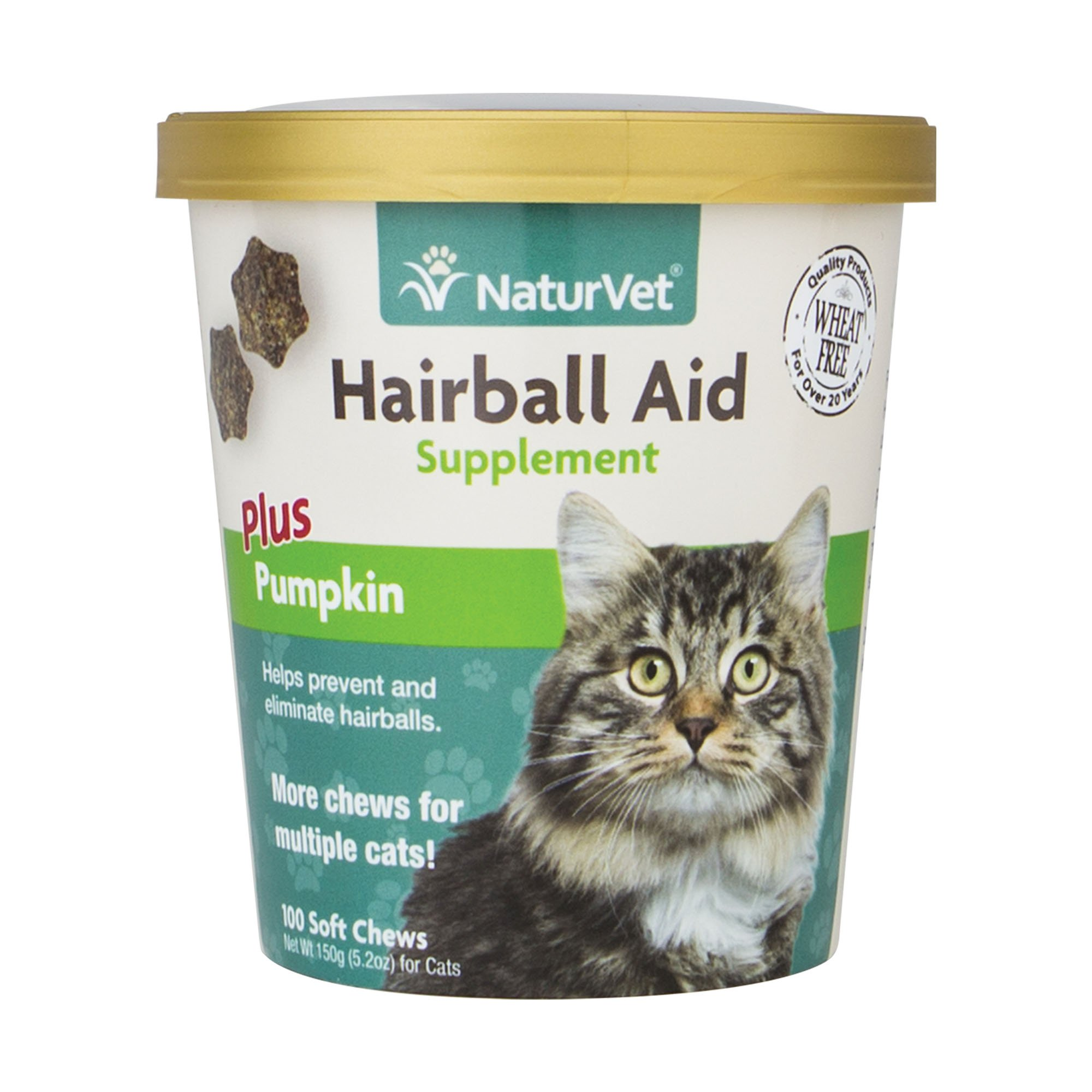NaturVet Hairball Aid Plus Pumpkin for Cats, 100 ct Soft Chews, Made in USA