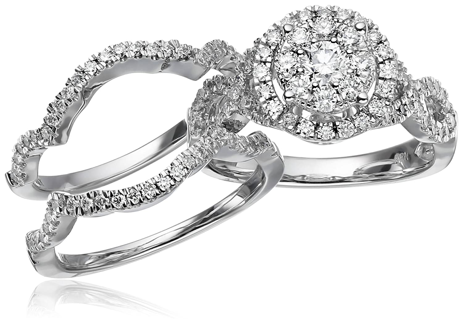 Amazoncom 14k White Gold Diamond 3Piece Wedding Ring Set 1 14